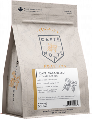 A 340 gram bag of whole bean coffee. Cafe caramello blend, medium roast.